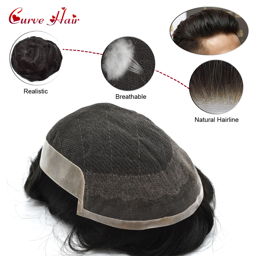 100% All Hand Tied Human Hair Toupee For Men Bleached Front French Lace Skin Hair Replacement System US Domestic