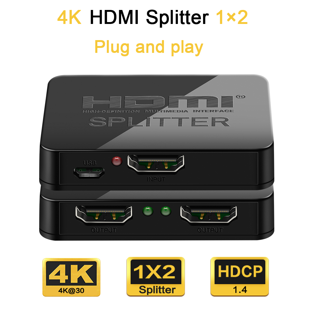 HDMI Splitter 1 in 2 out Adapter 4K HDMI Switch HDCP Stripper 3D Splitter Power Signal Amplifier HDMI Switcher For PS3 HDTV DVD