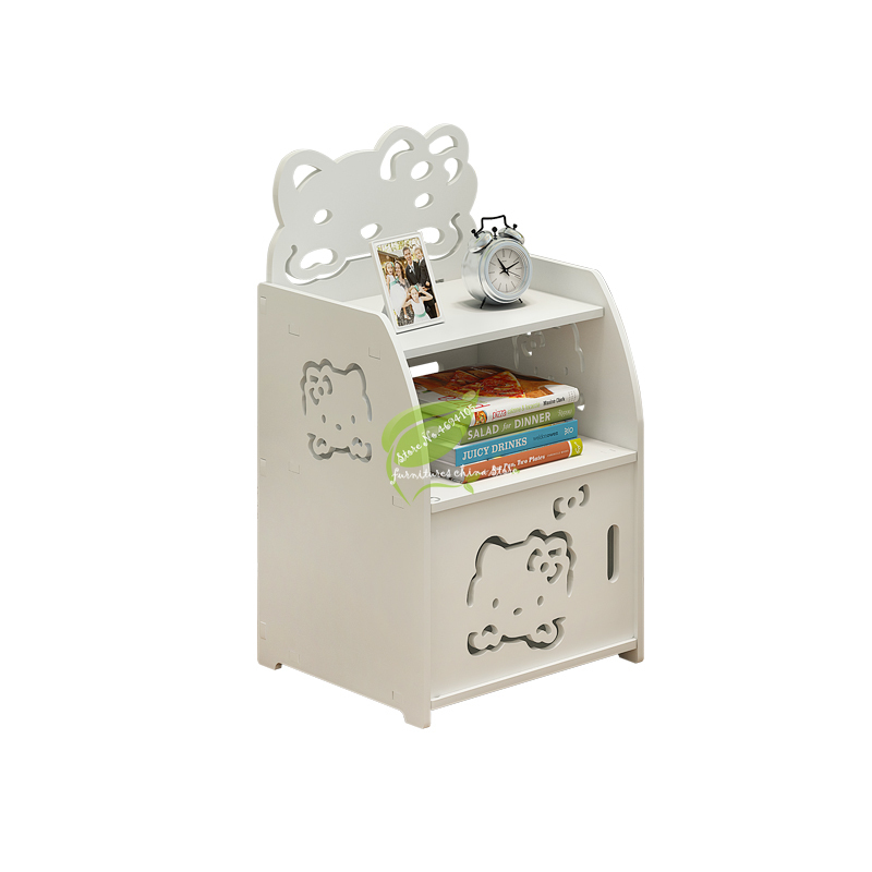 Modern Simple Bedside Table Assembly Living Room PVC Locker Children Bedroom Narrow Cabinet Mini Storage Cabinet Wateable