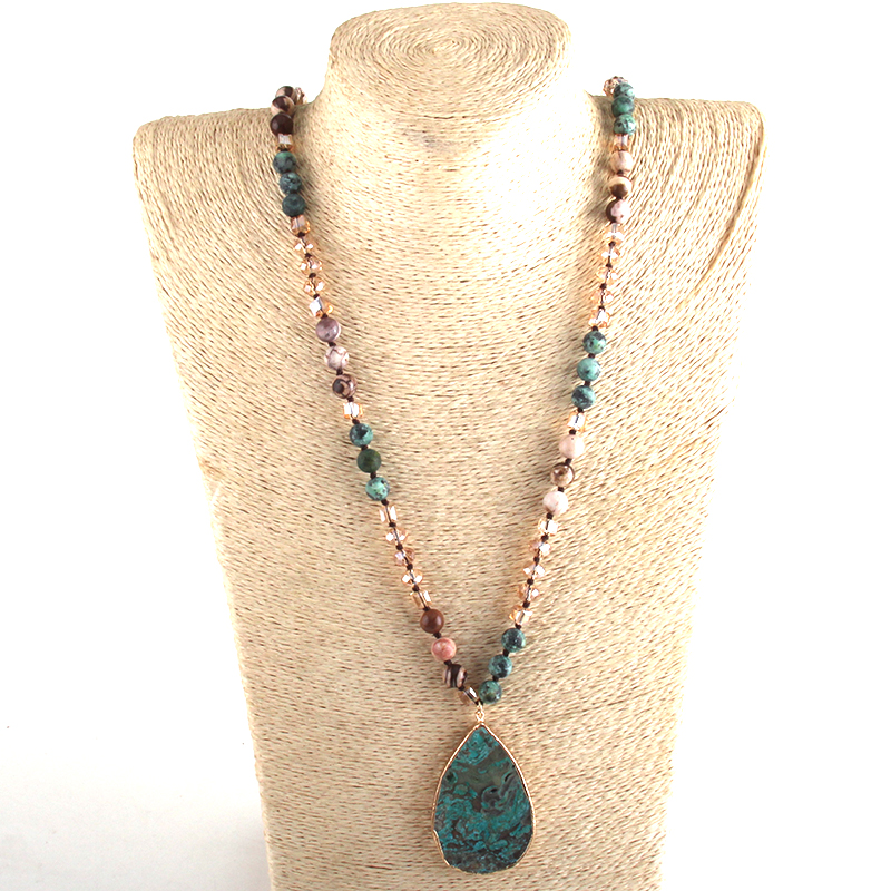 RH Fashion Boho Jewelry Natural Stones With Semi Precious Pendant Necklaces Women Bohemia Necklace Gift Dropship