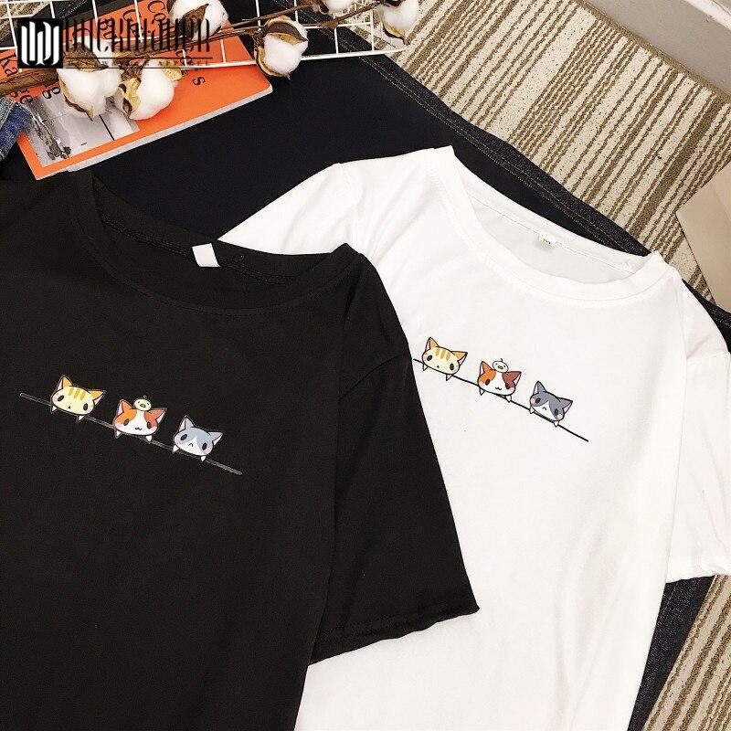 Duckwaver Summer Cartoon Print Women T-shirt Cute Sweet Girl Tshirt O Neck Short Sleeve Tee Shirts Female Vogue Tops Tee Shirt