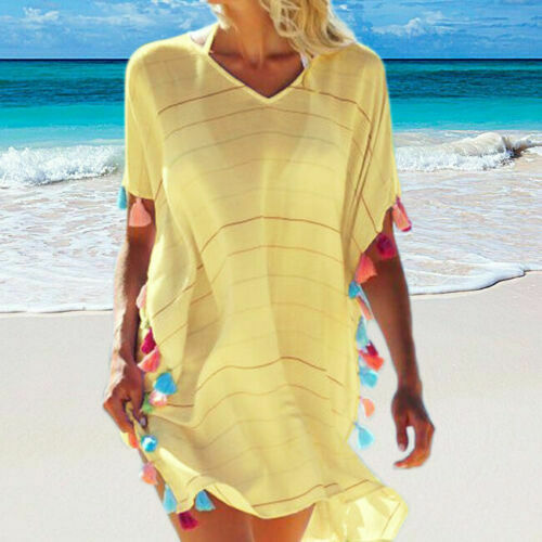 Brand New Women Summer Beach Bikini Cover Ups Boho Casual Party Sun Mini Dress Sundress Tassel Bathing Suit Striped Loose Covers