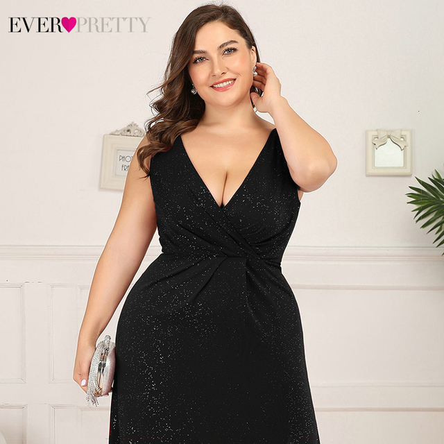 Plus Size Sparkle Evening Dresses Ever Pretty A-Line Double V-Neck Sleeveless Side Split Sexy Formal Party Gowns Robe De Soiree 4