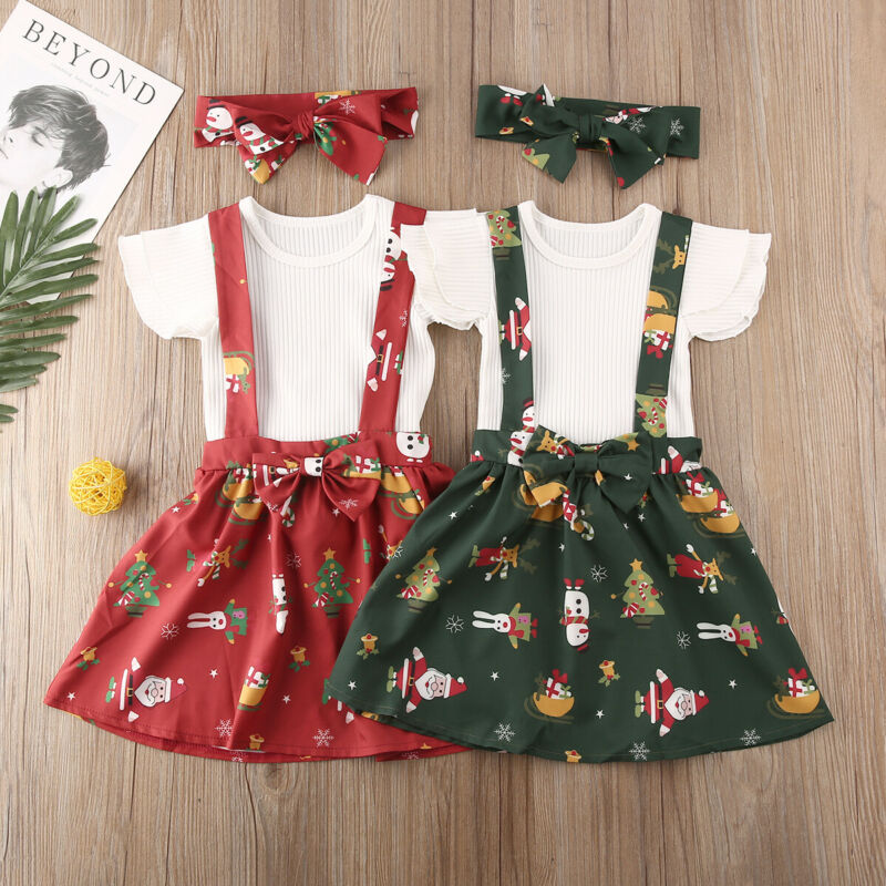 2019 New Toddler Kids Baby Girls Christmas Clothes Knitted Tops Floral Skirt Headbands Outfits 3Pcs Set Children Clothing
