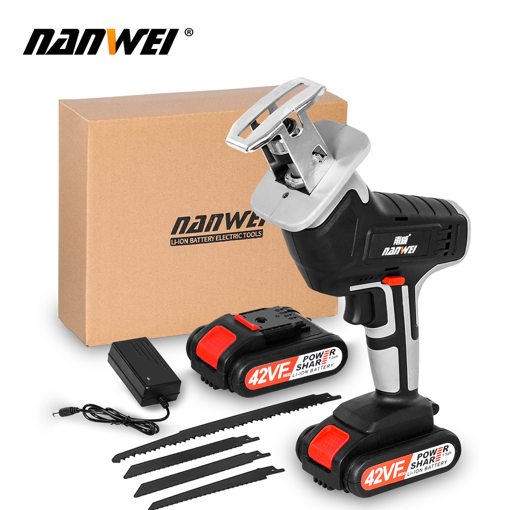 18V42vf NANWEICordless Electric Lithium Power tool Portable and rechargeable Hand Reciprocating Saw Saber Saw Multi-function saw - Цвет: 42VF 2B set1
