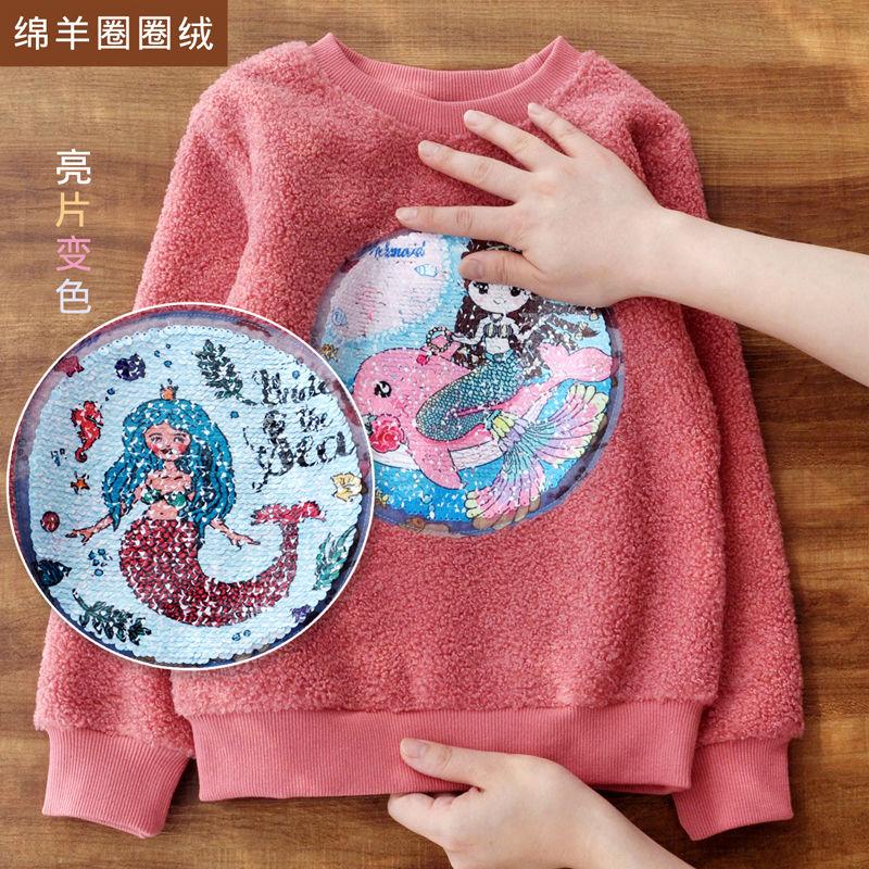 Vidmid Long Sleeve Girl T-shirt Cartoon Unicorn Girl Shirts Sequined Kids Top Fashion Girls color changing Sequin Clothing p331 2