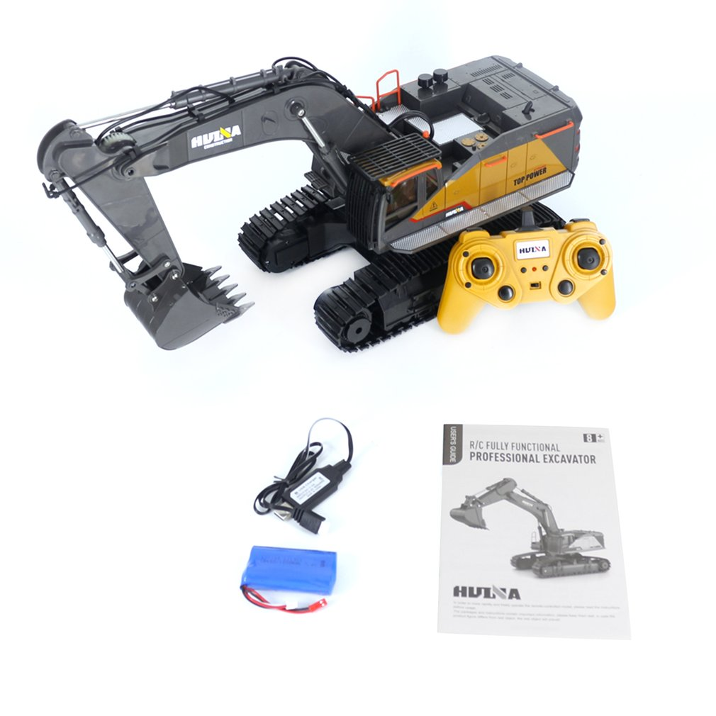1592 1/14 Alloy Bucket RC Excavator Construction Vehicle Toy Rechargeable Simulated Excavator Remote Control Car Gift for Kids image