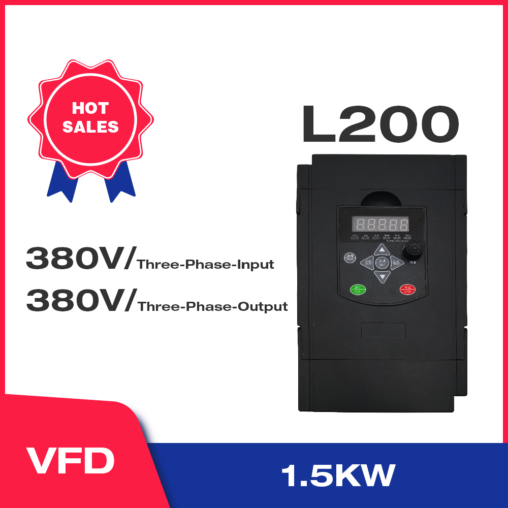 Angisy 1.5KW/2.2KW 380V 3-Phases Input And 380V 3-Phases Output Frequency Converter 60HZ to 50HZ L200
