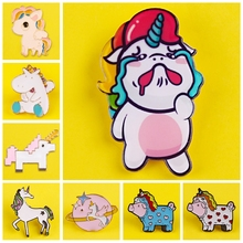 Enamel Pin Cute Unicorn pattern Metal Badges Pins and Brooches for Women Girl Lapel pin Creative Gift backpack bags badge jacket недорого