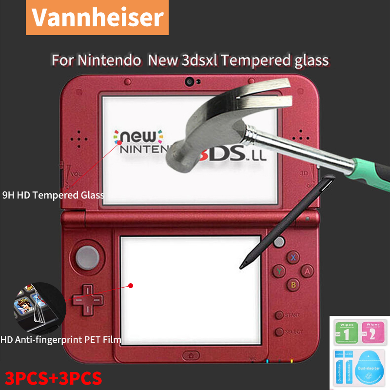 Nintendo New 3DS XL LL Screen Protector Top 9H HD Tempered Glass+Bottom PET Full Clear Cover Protective Film Guard for 3DS XL/LL