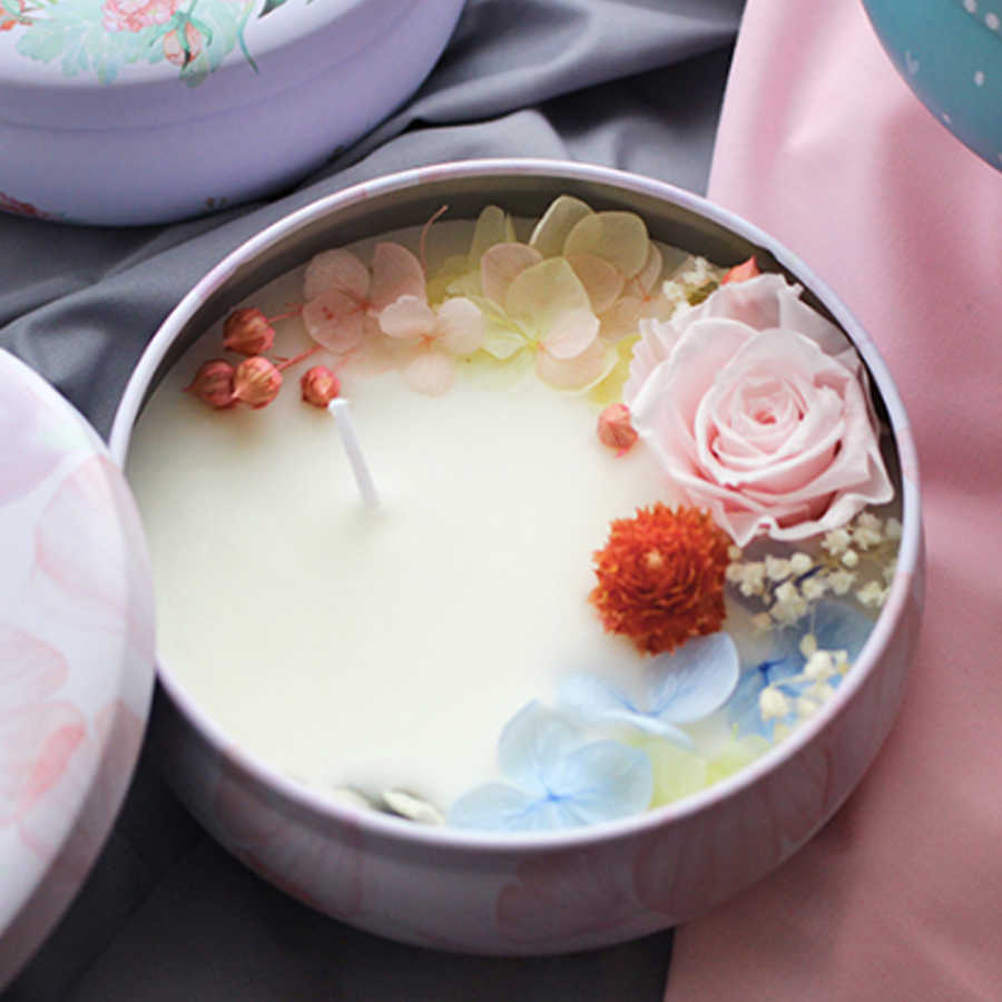 Vela de cumpleaños cera Natural flor belleza luz hacer vela suministros perfumados velas Bougie Parfum casa velas tarro 60B004