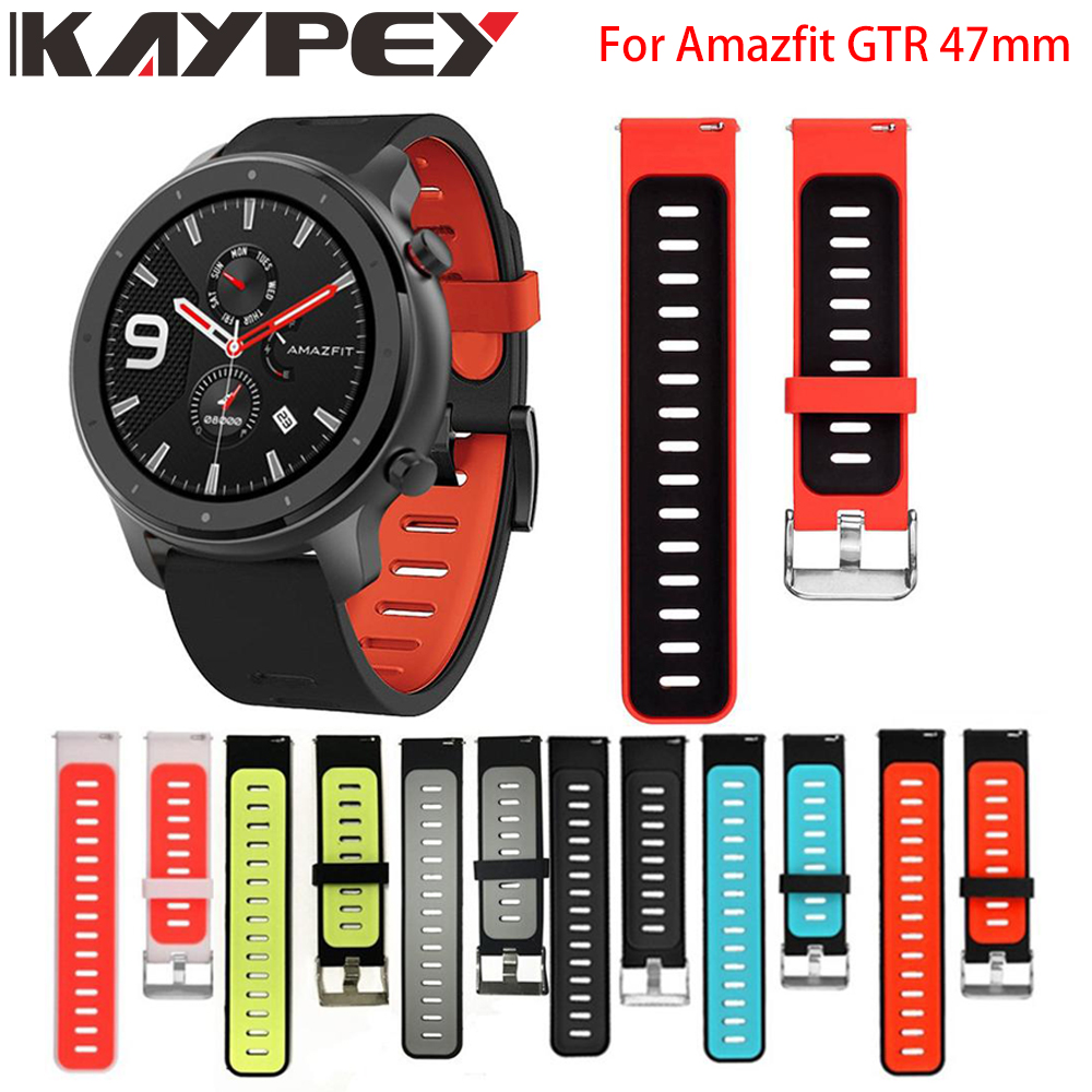 Sports Silicone Wrist Strap For Xiaomi Huami Amazfit GTR 47mm Bracelet Band For Huami Amazfit Gtr Watch Replacement Watchband