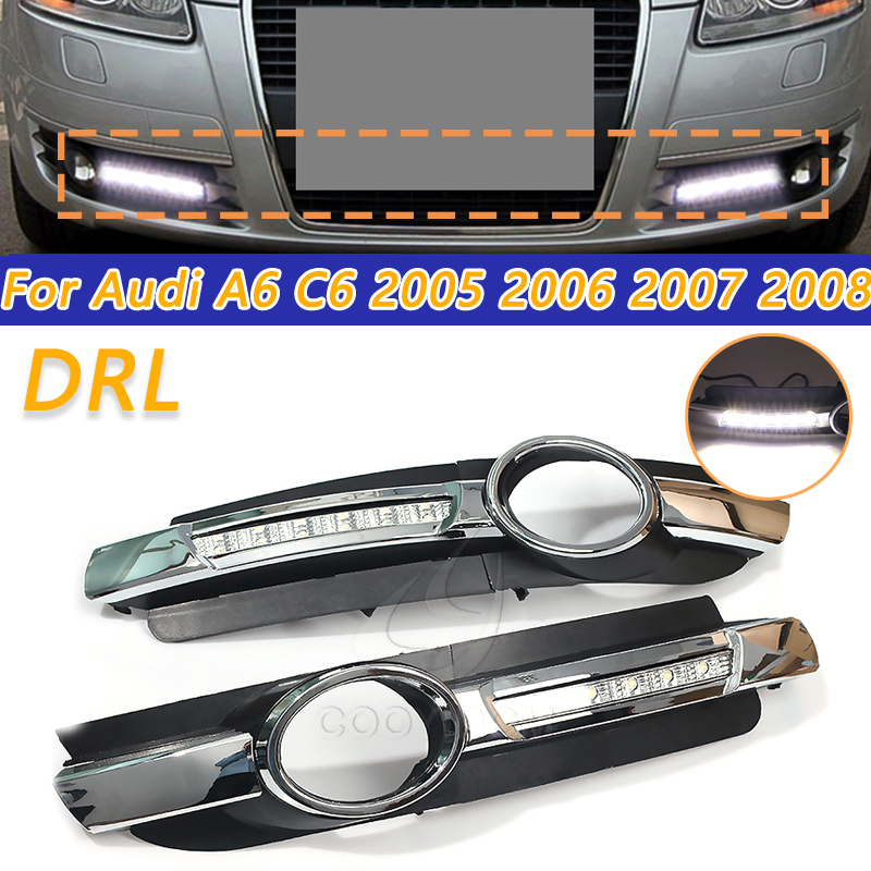 COOYIDOM 1Pair For Audi A6 C6 2005 2006 2007 2008 No-error Daytime Running Light LED DRL fog lamp Driving Lamp high quality image