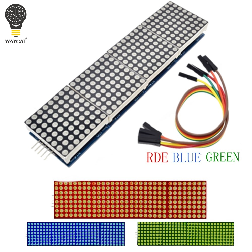 MAX7219 Dot Matrix Module For Arduino Microcontroller 4 In One Display With 5P Line Red Green Blue