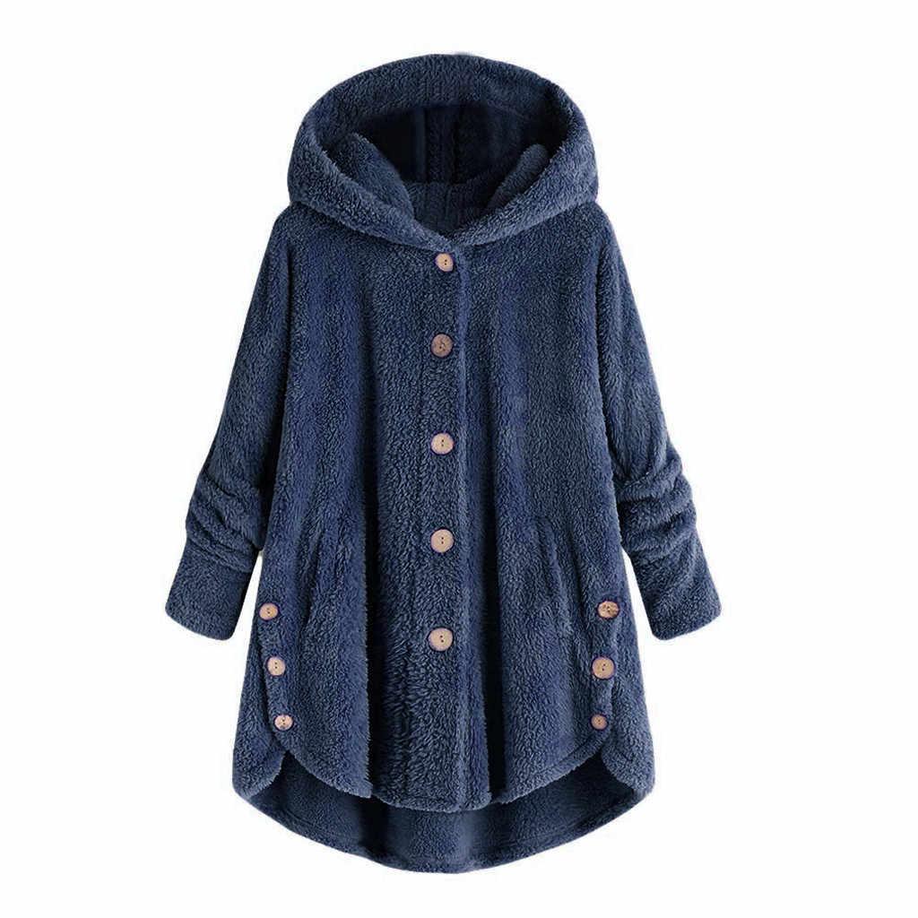 Mode Frauen Taste Mantel Flauschigen Schwanz Tops Mit Kapuze Pullover Lose Pullover Bluse Plüsch Einfarbig Winter Warme Casual Mantel # zihr