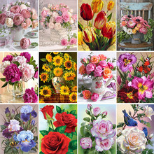 5D DIY Diamond Painting Flower Rose Vase Cross Stitch Kit Full Drill Embroidery Mosaic Art Picture With Rhinestones Decor Gift
