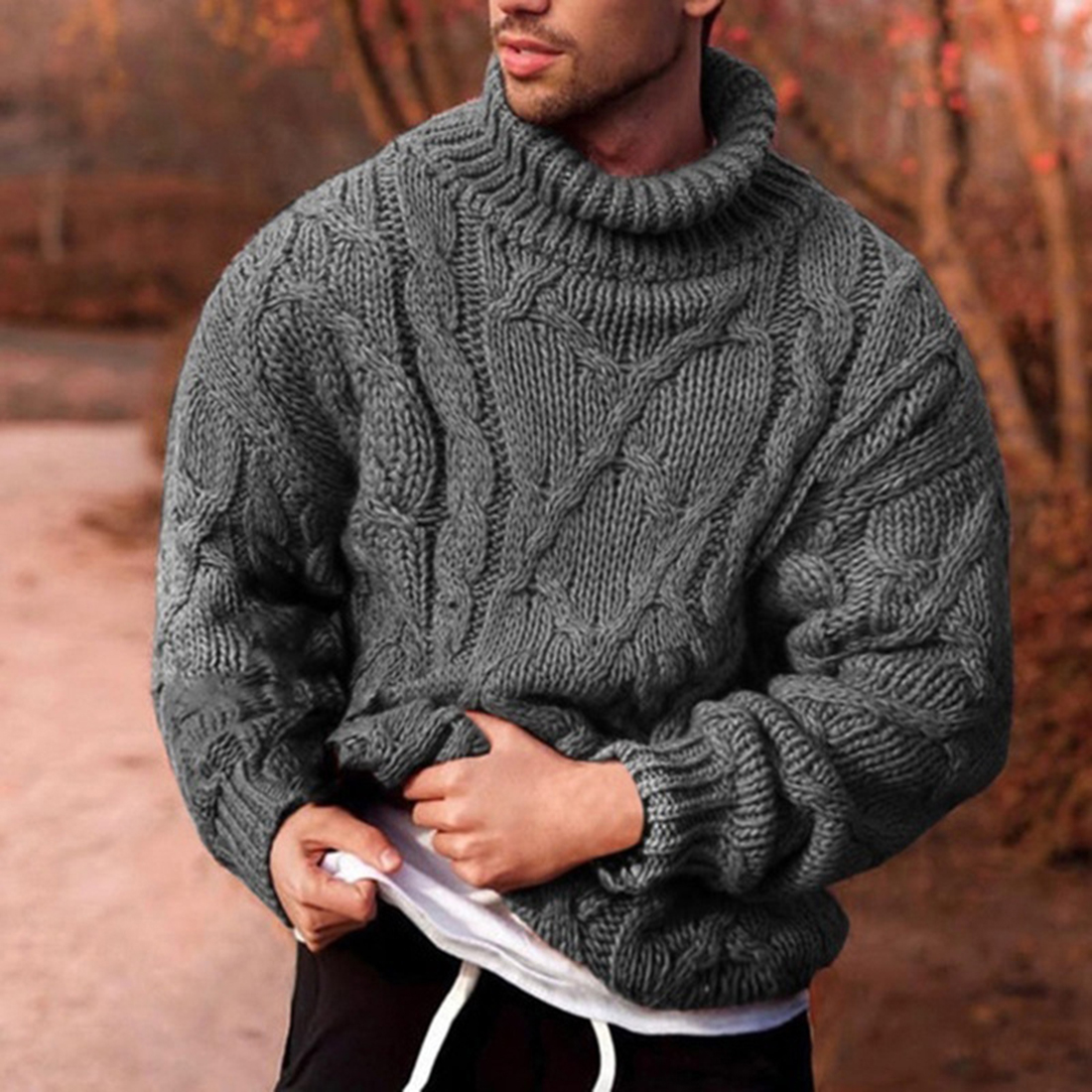 2020 Knitted Turtleneck Men Sweater Man Solid High Collar Sweater Winter Long Sleeve Pullover Coat Mens Turtleneck Sweaters