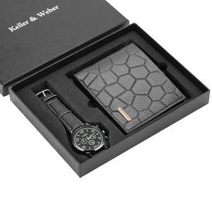 Image 4 - גברים שעונים קוורץ עור מינימליסטי שעון יד כרטיס מחזיק ארנק שעון גברים מתנת סט לאבא הבעל החבר Reloj hombre