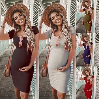 Maternity O-Neck Short Sleeve Dresses Clothes for Casual Pregnant Women Dress Vestidos Pregnancy Clothing Plus Size Solid Color casual round neck short sleeve plus size denim dress for women