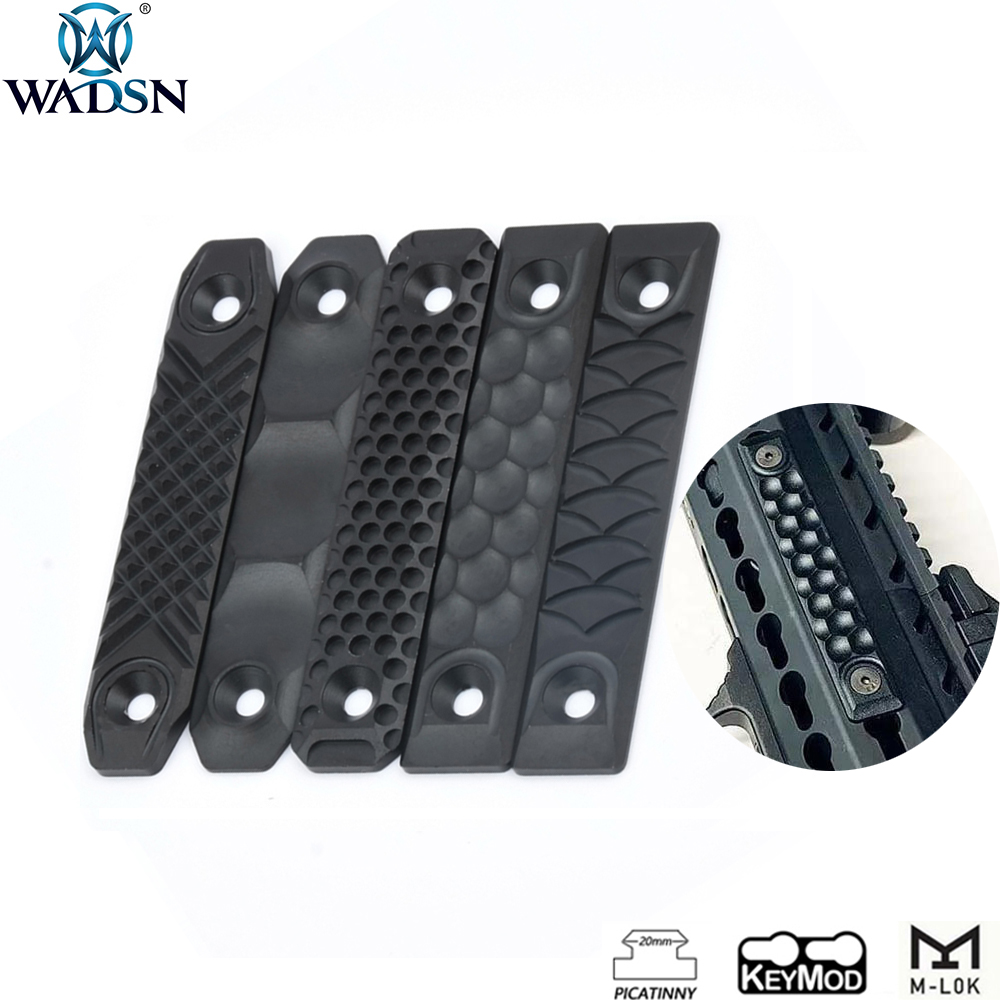 WADSN Airsoft RS CNC Aluminum Handguard Rail Cover Panel fit Keymod M-lok Rail Fishbone System Rails Hunting Rifle Accessory(China)