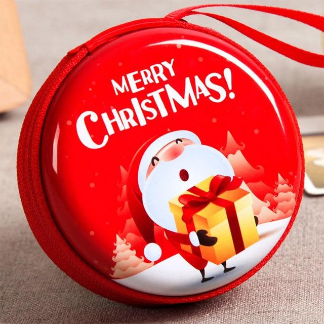 Mini caixa de estanho para carteira, caixa selada de armazenamento de moedas e moedas de natal para fones de ouvido, armazenamento de presentes para crianças, decoração de caixa de doces de árvore de natal