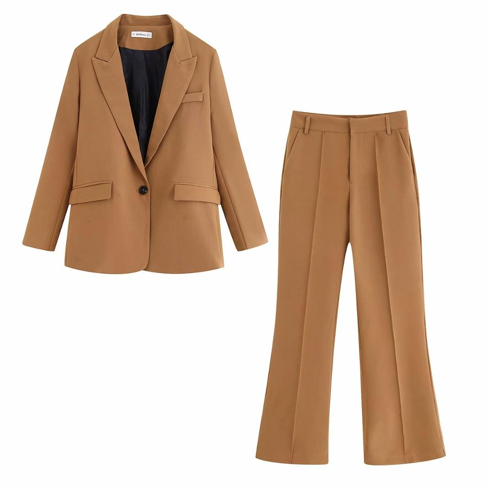 Khaki Casual Suits Women Blazer-set Single Button Pocket Full Sleeve Top & Flared Trousers Stylish Office Lady Coat Femme Suits