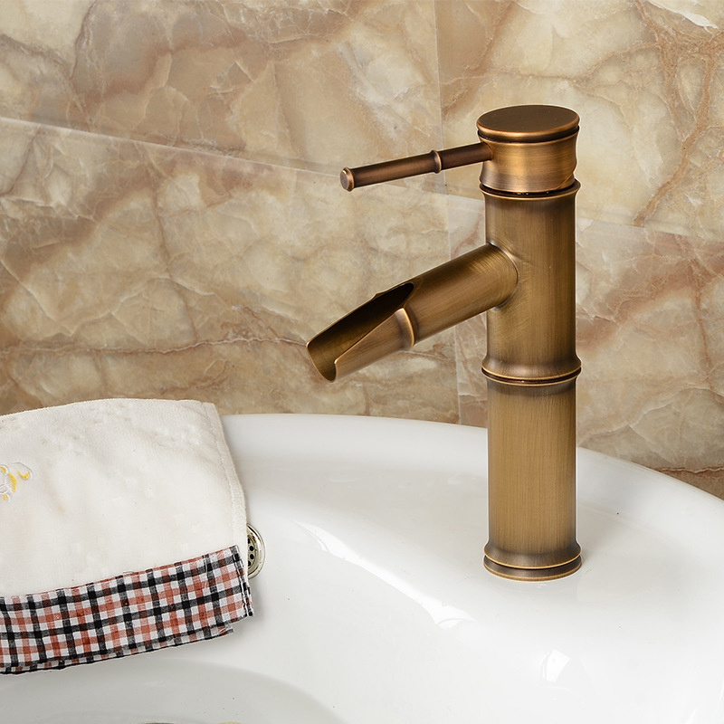 H6c78f89d9876414db4340bcc081d9085h Bathroom Basin Faucet Antique Brass Bamboo Shape Faucet Bronze Finish Sink Faucet Single Handle Hot and Cold Water Mixer Tap