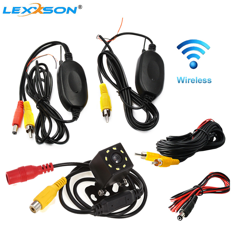 LEXXSON Parking Wireless Universal Car Rear View Camera With 8 LED Back Reverse Camera RCA Night Vision Receiver & Transmitter