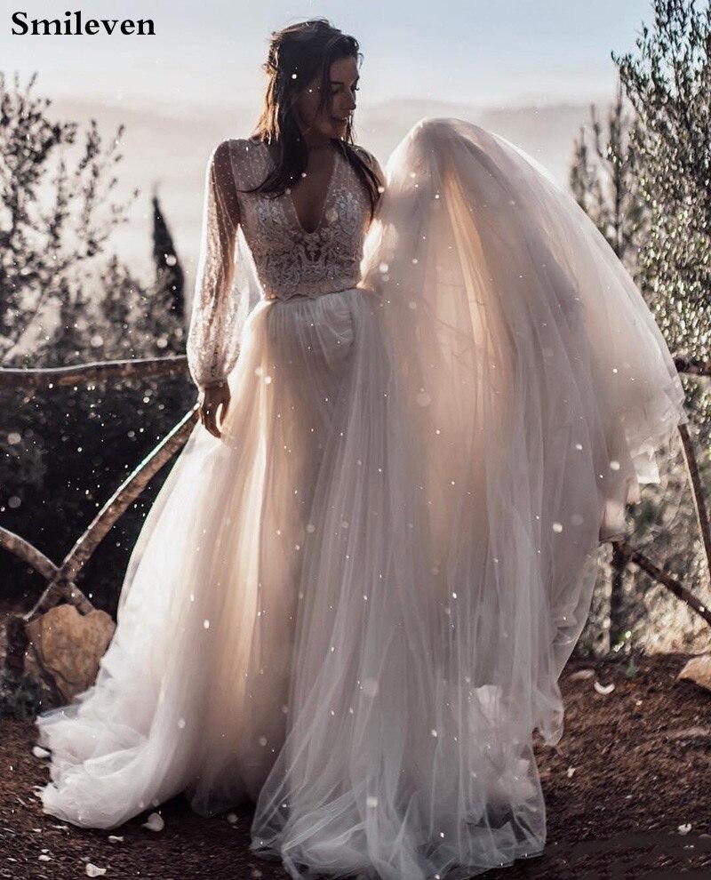 Smileven Boho A Line Wedding Dress Puff Sleeves 2020 Sexy V Neck Bride Dresses Vestido De Casamento Puff Tulle Wedding Gowns