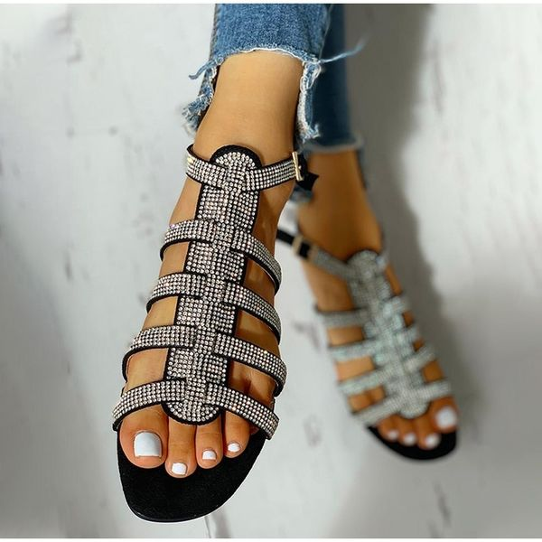 2020 New Women Sandals Shoes Rhinestones Hollow Out Flat Summer Shoes Bottomed Roman Sandals Ladies Shoes