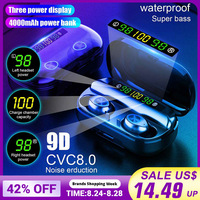 TWS 4000mAh v5.0 bluetooth Stereo Wireless Earphones Waterproof Earbuds With 3 LED Display Sport Wireless Headsets