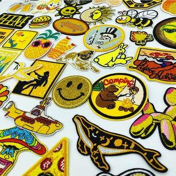 Gelb Stickerei Patches für T-shirt farbe Whale bunny bee Eisen auf Streifen Appliques Kleidung Aufkleber Kleidung Abzeichen