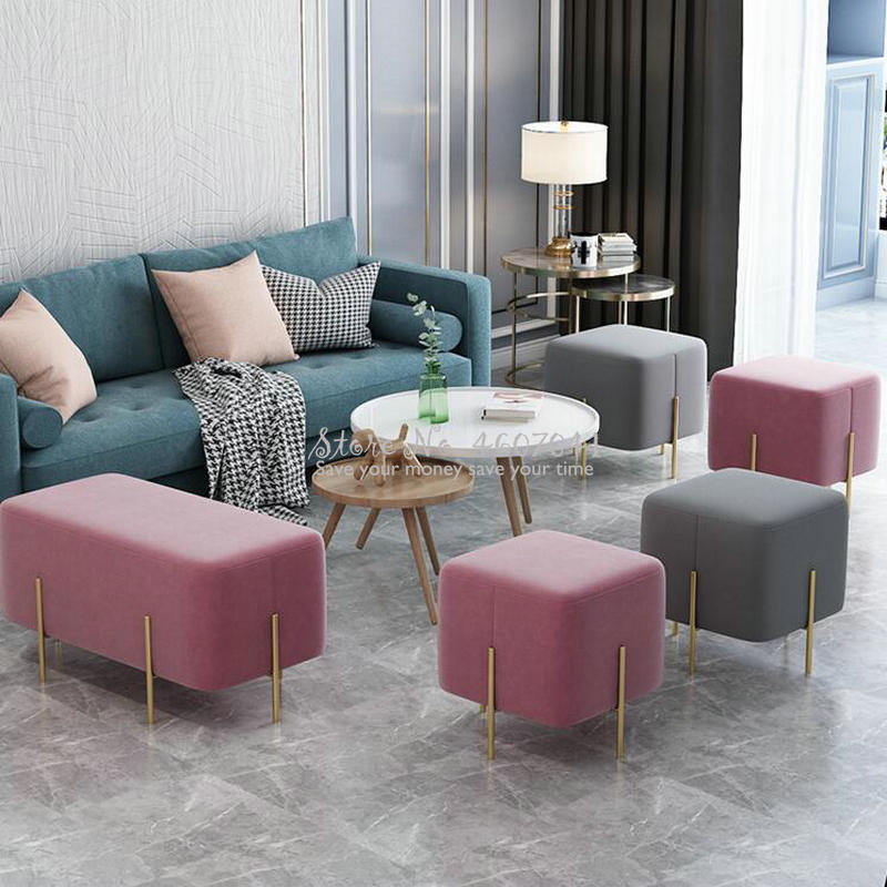 Stylish Ottoman Shoe Bench Sofa Golden Leg Pouf Square Stool Footstool Living Room Fabric Stool Silla Para Maquillaje 45*45cm