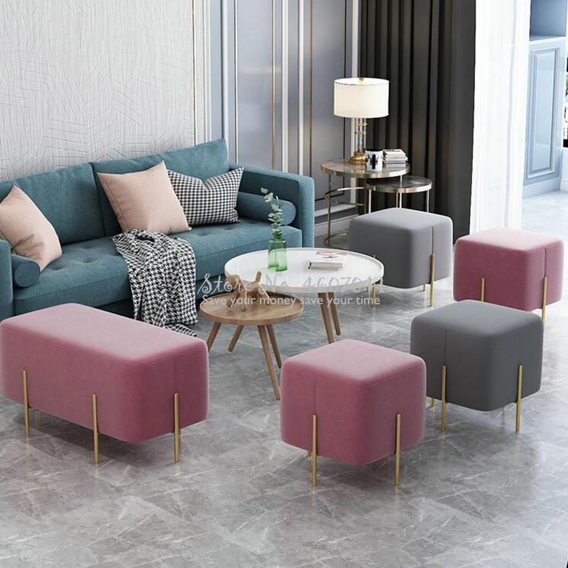Stylish Ottoman Shoe Bench Sofa Golden Leg Pouf Square Stool Footstool Living Room Fabric Stool Silla Para Maquillaje 45*45cm