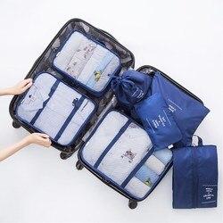 Alta Qualidade 7 pçs/set Cubo Embalagem para Mala 2020 Saco Organizador da Viagem Dos Homens Das Mulheres de Roupas Sapatos Sacos De Viagem Bagagem