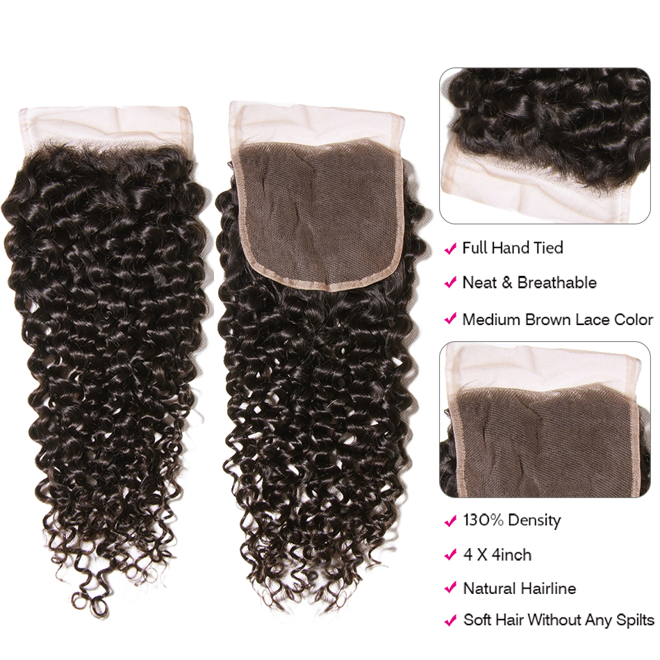 Image 5 - UNice Hair Curly Weave Human Hair With Closure 4/5PCS Brazilian Remy Hair Weave Bundles with Closure Swiss Lace Hair-in 3/4 Bundles with Closure from Hair Extensions & Wigs