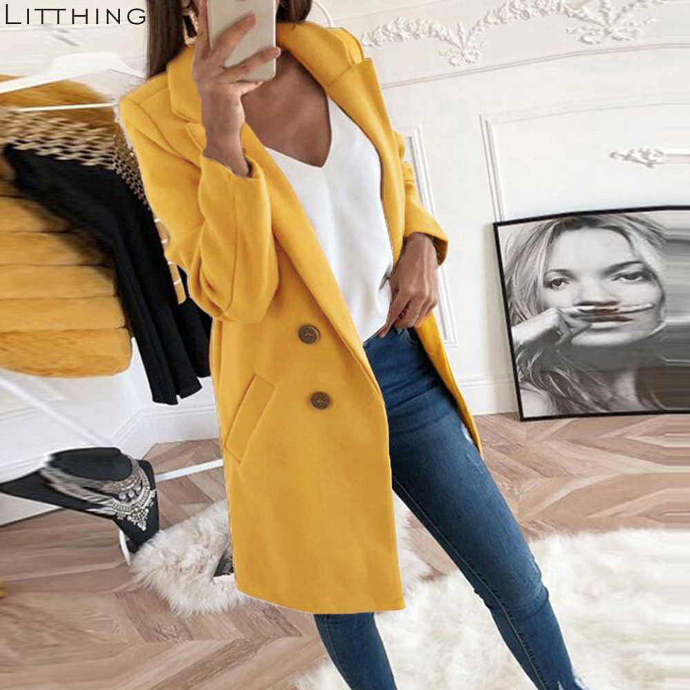 LITTHING Women Blend Coat Autumn Winter Turn-Down Collar Long Wool Female Jacket Coat Plus Size Female Coat Casual Windbreake