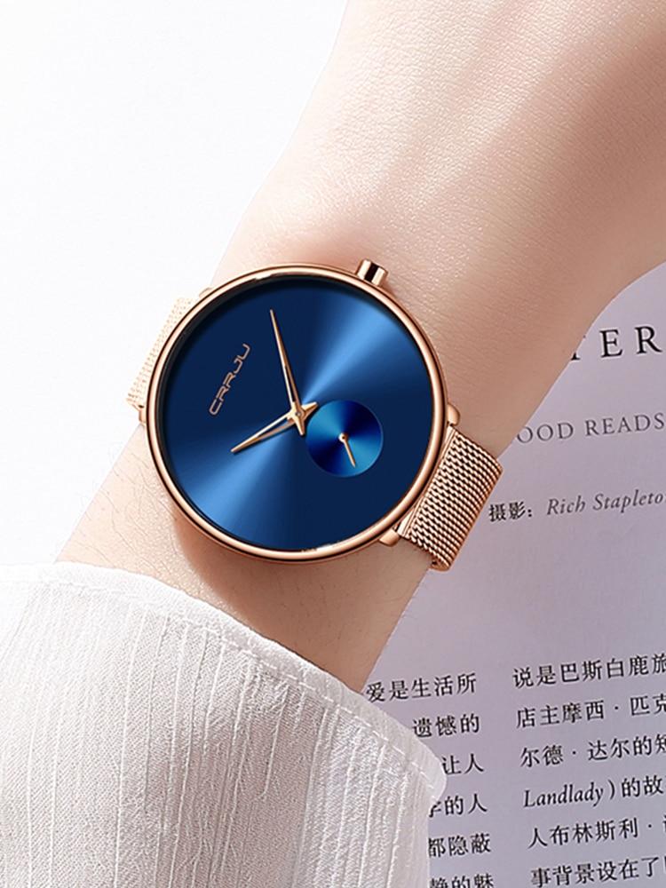 Watch Luxury Clock Dress Minimalist Female Fashion Women Ladies CRRJU Simple Quartz Waterproof