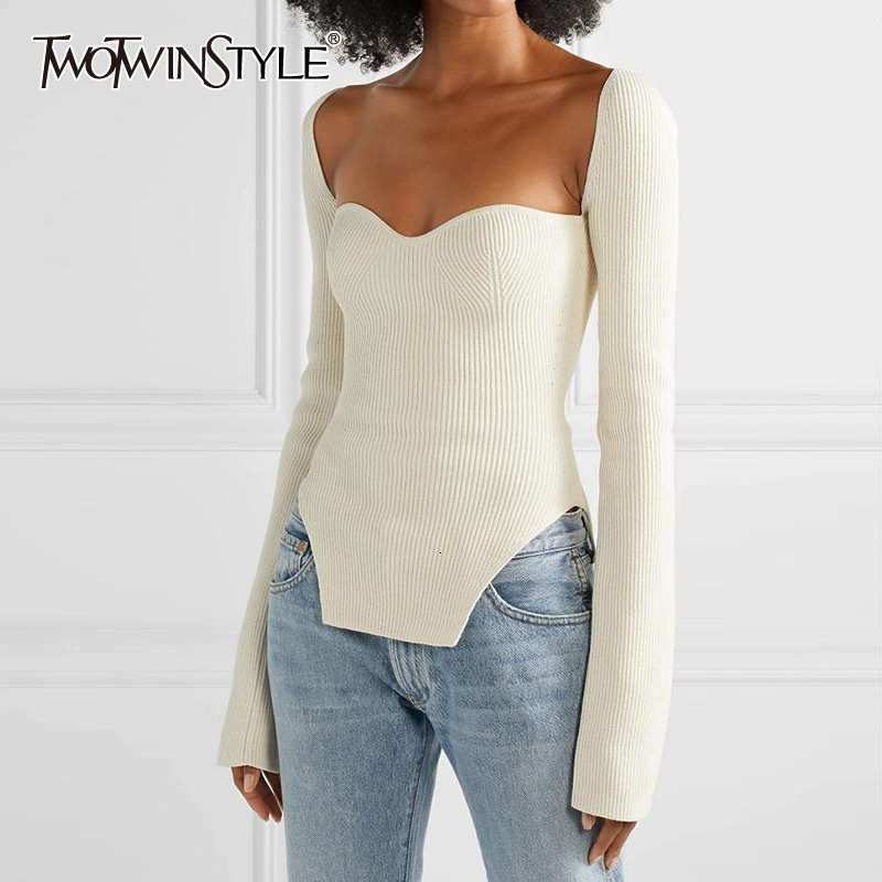 TWOTWINSTYLE White Side Split Knitted Women's Sweater Square Collar Long Sleeve Sweaters Female Autumn Fashion New Clothes 2020