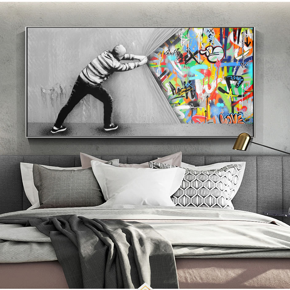 Graffiti Art Wall Pictures For Living Room Behind The Curtain Street Art Canvas Paintings On The Wall Posters And Prints Quadro
