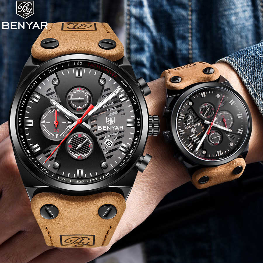 Benyar Watch Men Luxury 2019 Top Brand Mens Waterproof Watches Men's Sport Wrist Watch Man Leather Band Clock Relogio Masculino