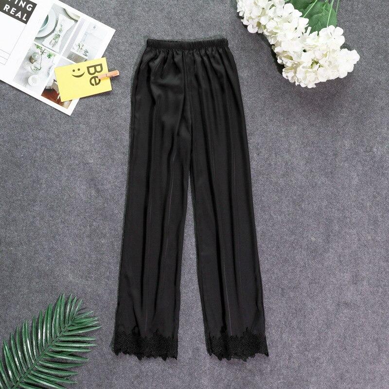 Осенние женские атласные пижамные штаны Свободные повседневные пижамы одежда для сна штаны для отдыха домашняя одежда - Цвет: black B