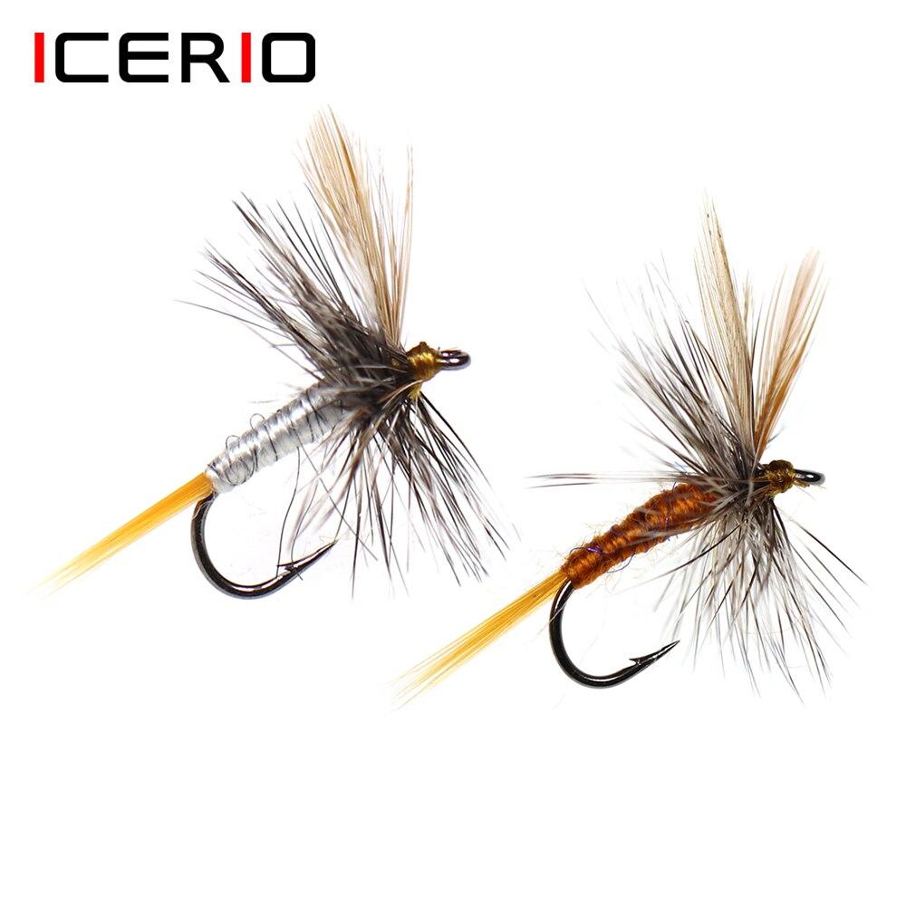 ICERIO 6 шт. сухая мушка Adams для взрослых Mayfly Летающая приманка Caddis или Midge для Форели Приманка для рыбалки нахлыстом