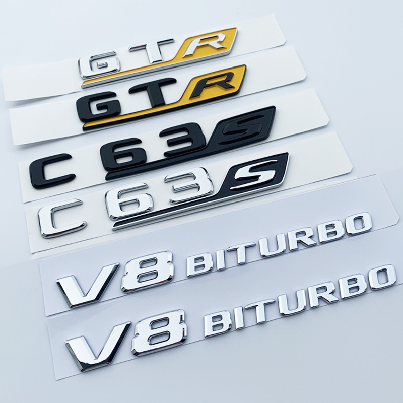 Emblem Car Styling Trunk <font><b>Sticker</b></font> for Mercedes Benz AMG GTR C63S E63S GLC63S GLE63S Long R <font><b>S</b></font> Badge Letter Emblem Black Red Silver image
