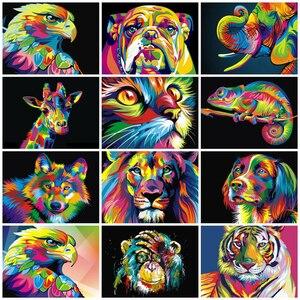 Azqsd краски по номерам Животные 50x40 см фото картина маслом по номерам подарочный набор Раскраска по номерам холст стены набор