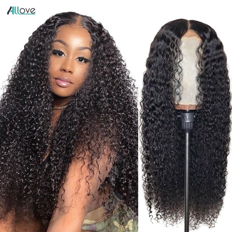 Allove 360 кудрявый кружевной парик, Бразильский передний парик человеческих волос парики для чернокожих женщин 360 кружевной передний парик пре...