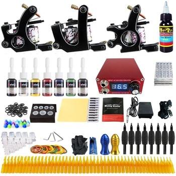 цены Solong Tattoo Complete Professional 3 Tattoo Machine Guns Set Tattoo Kit 7 Inks Power Supply Needle Grips Power Supply TK352