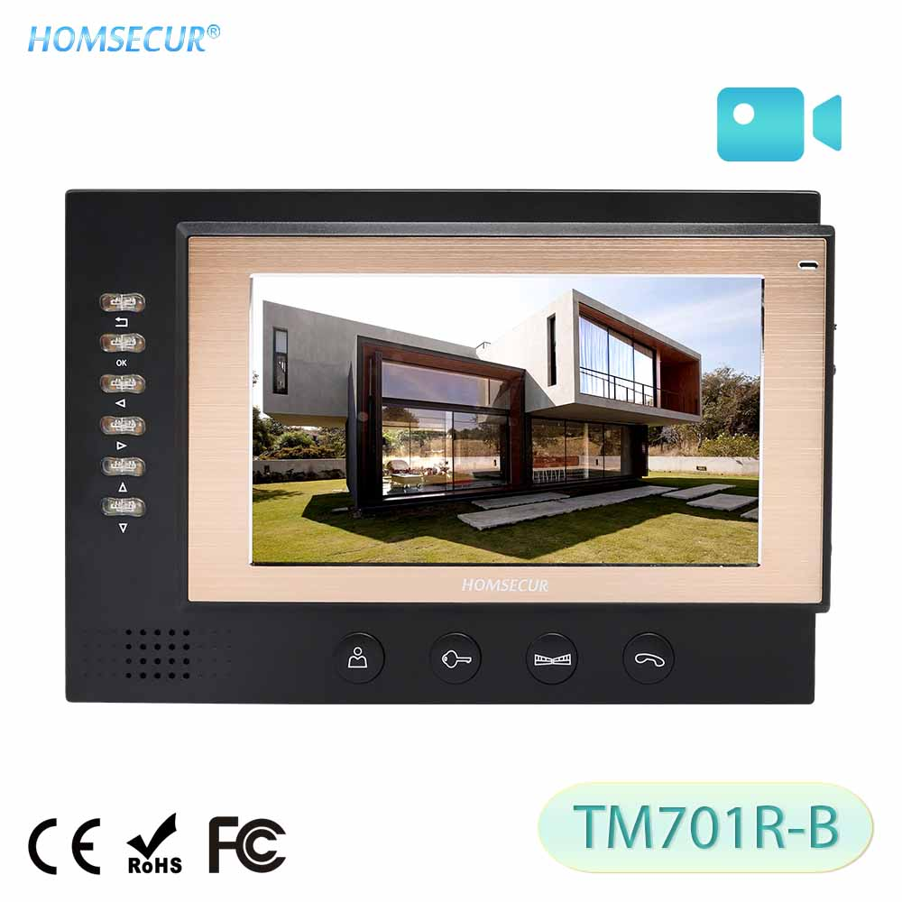 HOMSECUR TM701R-B 7inch Indoor Monitor With Recording And Photo Taking For HDW Wired Video Door Phone Intercom System