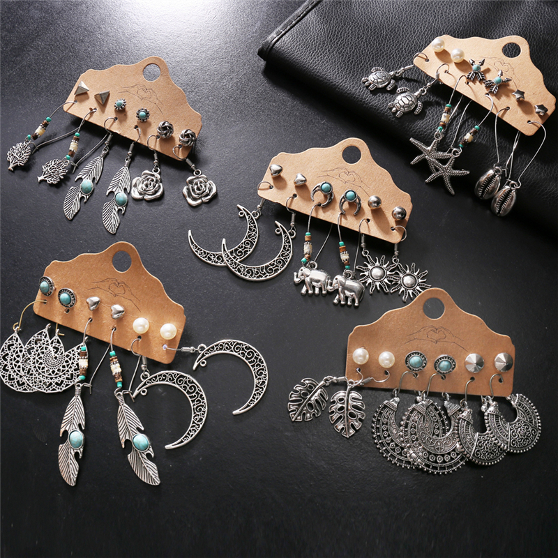 2020 New Bohemian Vintage Earrings Set For Women Trendy Ethnic Feather Sun Moon Drop Earrings Jewelry Female Fashion Statement