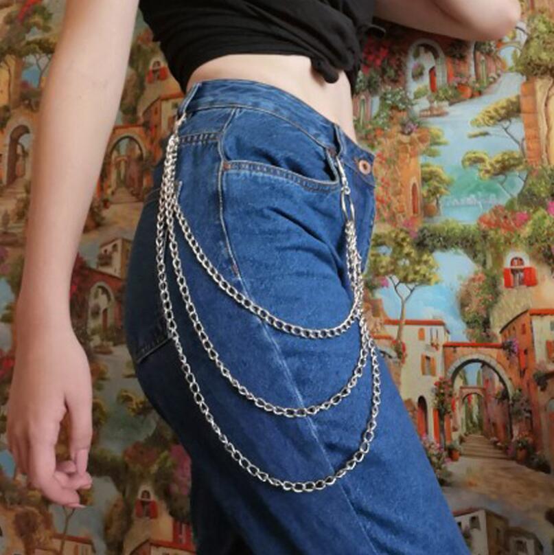New Women Pants 1-3 Layer Rock Punk Hook Trouser Pants Waist Link Belt Metal Wallet Silver Chain Hip Hop Chain Belts Accessories